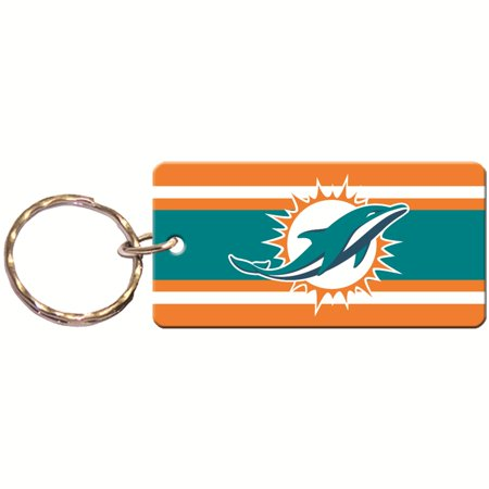 Miami Dolphins Super Stripe Printed Acrylic Team Color Logo Keychain Miami Dolphins Recliner