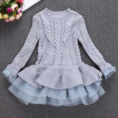 c379540944a CARLTON Kids Girls Knitted Sweater Winter Pullovers Crochet Tutu Dress Tops  Clothes - Walmart.com