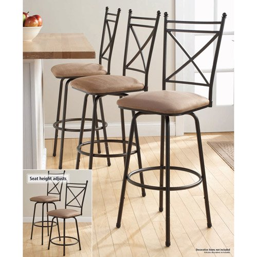 Kitchen Stools Kmart: Mainstays Adjustable Metal Swivel Barstools, Antique Brass