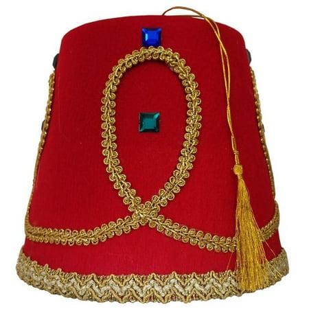 Turkish Army Ottoman Greek Jewel Red Gold Fez Hat Casablanca Moroccan Cap