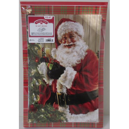 - HOLIDAY TIME - 10 PACK ASSORTED GIFT BOXES, PRINT, SANTA