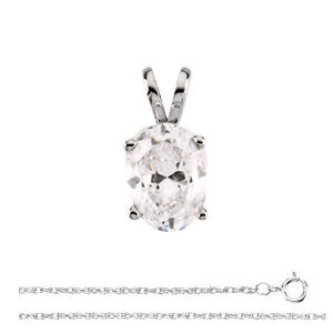 Oval Diamond Solitaire Pendant Necklace 14k White Gold ( 0.47 Ct, E Color, I1(K.M) Clarity) by CaratsDirect2U