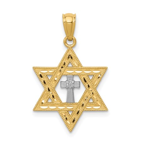 14k Yellow Gold Diamond Jewish Jewelry Star Of David Cross Religious Pendant Charm Necklace Judaica For Women Gift Set