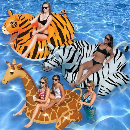 Swimline Giant Giraffe, Zebra, and Tiger Pool Floats for Swimming Pools, 3-Pack