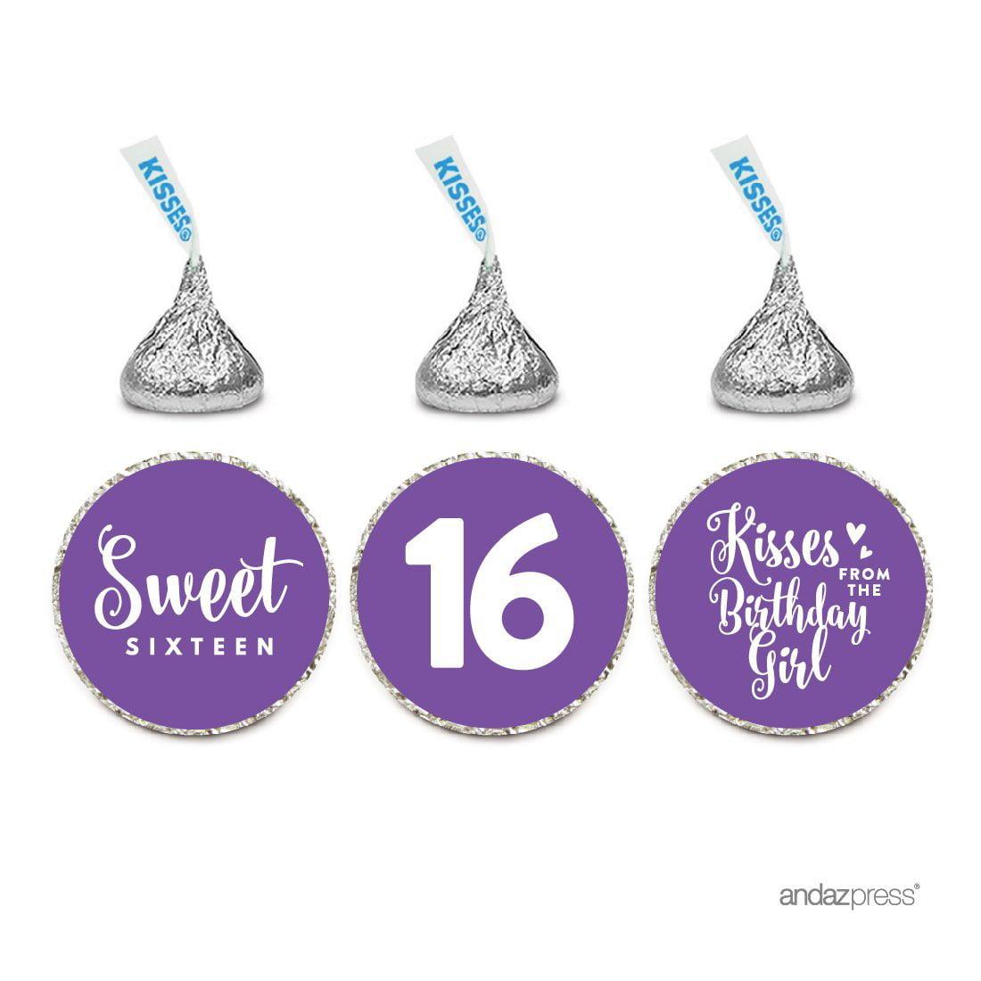 Chocolate Drop Labels Trio, Fits Hershey's Kisses, Sweet 16 Birthday, Royal Purple, 216-Pack