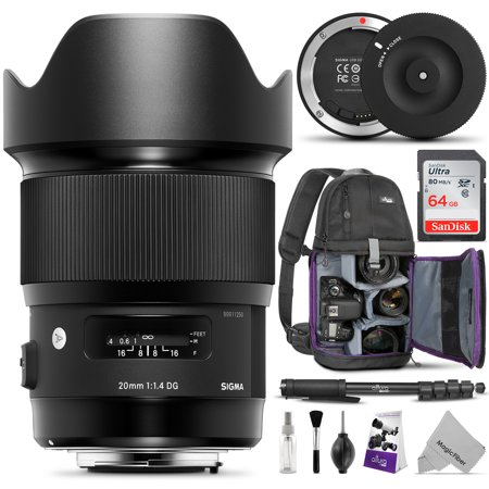 Sigma 20mm F1.4 ART DG HSM Lens for CANON EF DSLR Cameras w/ Essential Photo and Travel Bundle - Including: Camera Sling Backpack, Pro 67