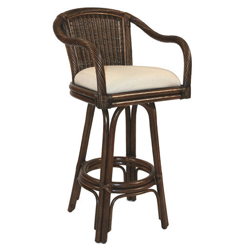 Hospitality Rattan Key West 30'' Swivel Bar Stool with Cushion
