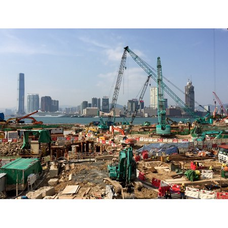 LAMINATED POSTER Architecture Hong Kong Crane Building Site Poster Print 24 x 36