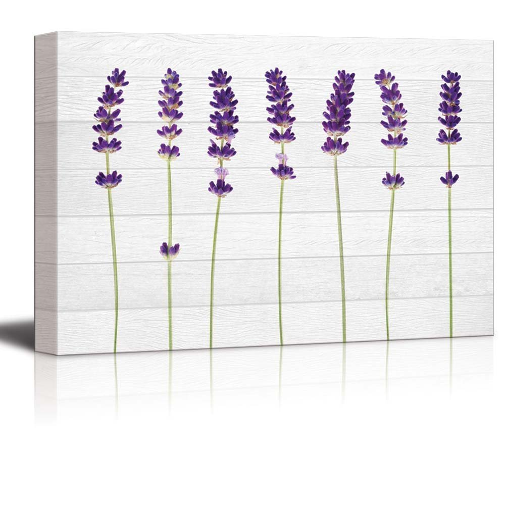 wall26 Purple Perennial Flowers Over White Wood Panels - Canvas Art Home Decor - 16x24 inches