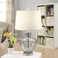 "Palm Springs Blue Glass and Brushed Nickel 25"" Table Lamp"