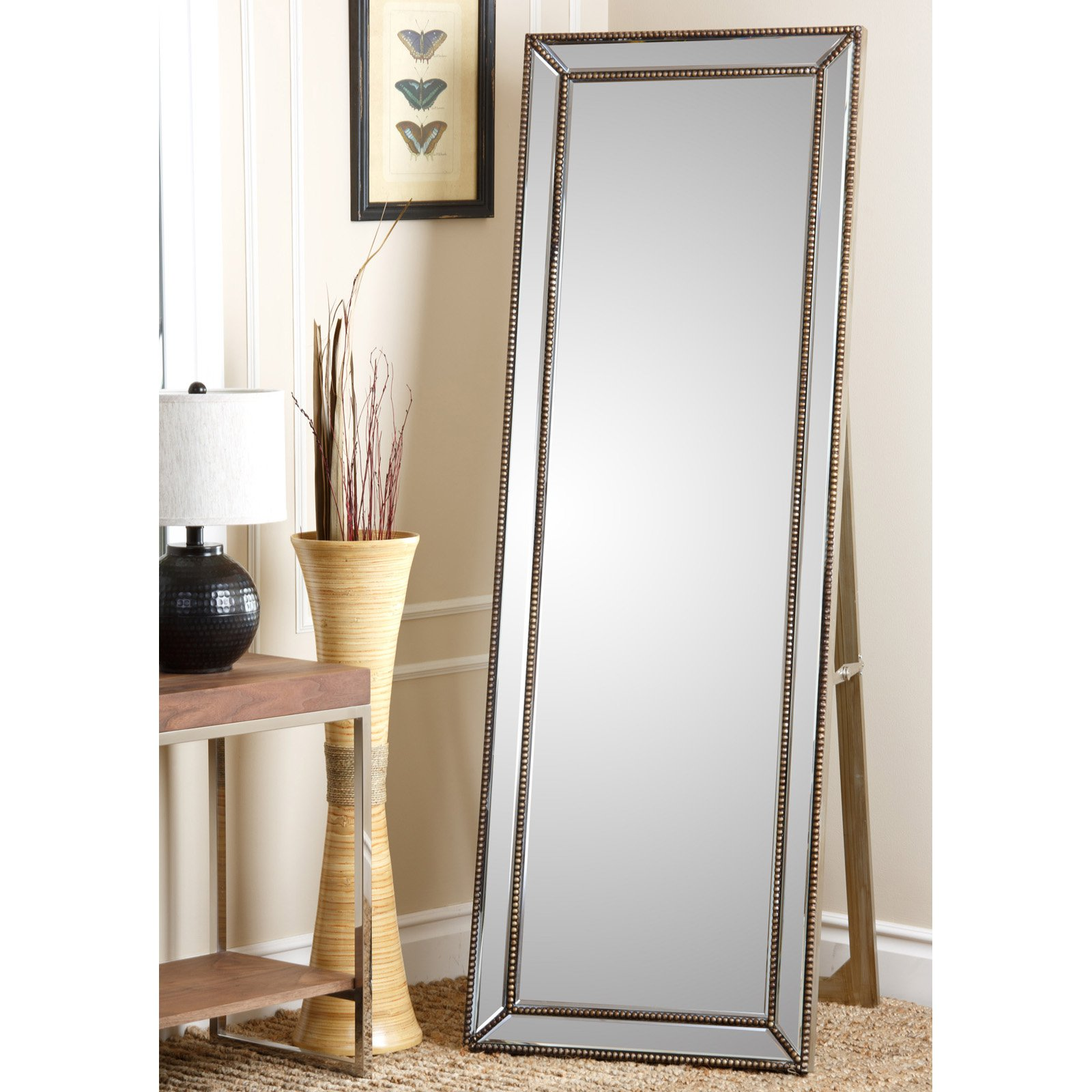 Cosmic Tarnished Gold Rectangle Cheval Floor Mirror by Abbyson Living