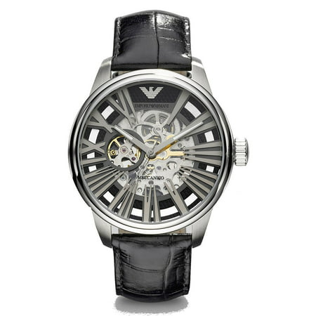 Emporio Armani Men's Meccanico Black Skeleton Watch AR4629 (Armani Exchange Black Steel Watch)