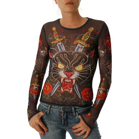 YMX by YellowMan Black Women's Mesh Long Sleeve Panther Rage Tattoo T-Shirt - S