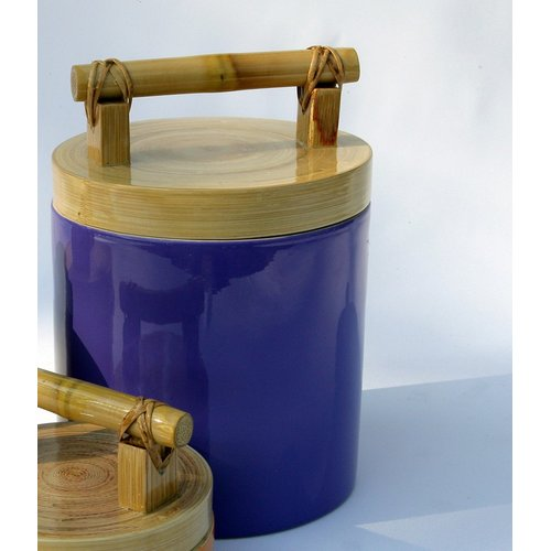 Bodhi Tree Collections 14-Ounce Spun Bamboo and Lacquer Canister