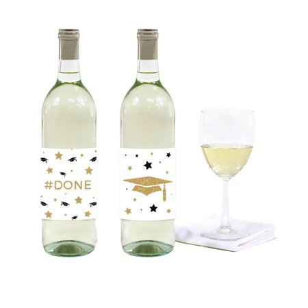 White and Gold Glittering Graduation, Wine or Apple Cider Bottle Labels, 8-Pack](Mini Wine Bottle)