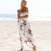 f6e3d2690345 Boho Style Dosmart Women s Off Shoulder Chiffon Long Dress Summer Beach  Floral Print Split Party Maxi