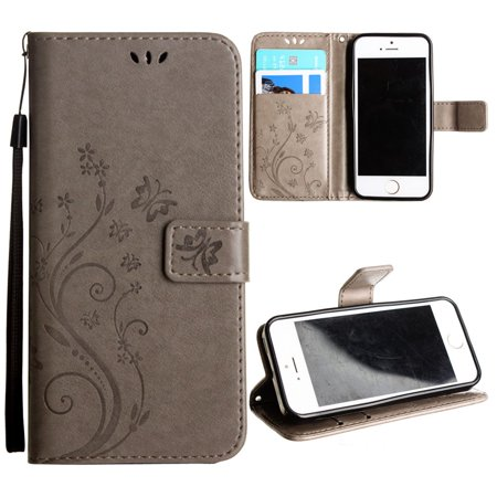 wholesale dealer 1ad5c 3e8cc CellularOutfitter iPhone SE / 5S / 5 Leather Folding Wallet Case - Embossed  Butterfly Design w/ Wristlet Strap - Gray
