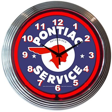 - GM Pontiac Service Genuine Electric Neon 15 Inch Wall Clock Glass Face Chrome Finish USA Warranty