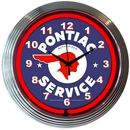 GM Pontiac Service Genuine Electric Neon 15 Inch Wall Clock Glass Face Chrome Finish USA Warranty - Miami Dolphins Chrome Clock