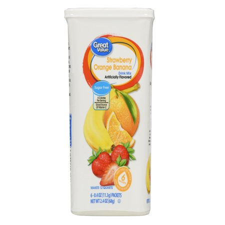 (12 Pack) Great Value Drink Mix, Strawberry Orange and Banana, Sugar-Free, 2.4 oz, 72