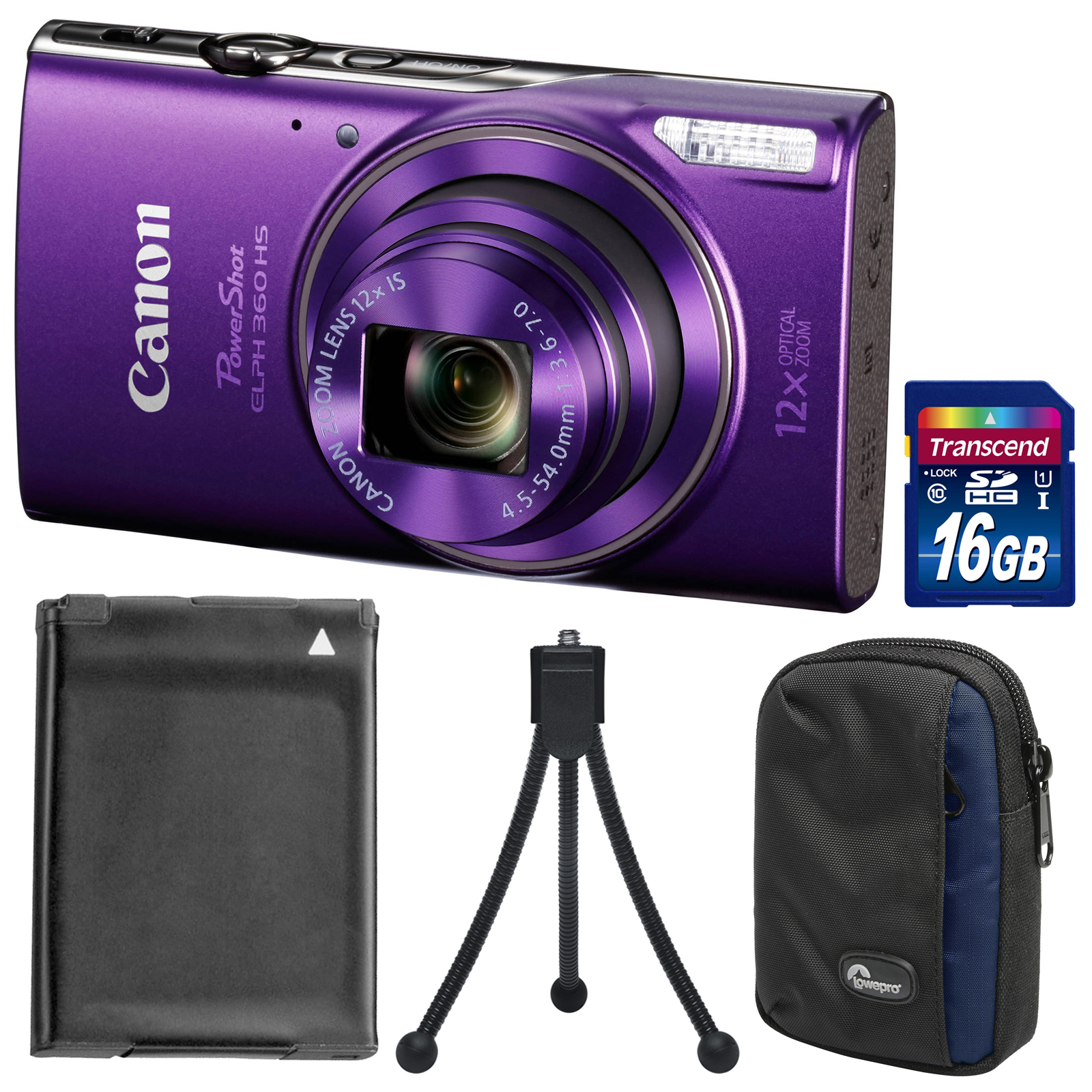 Canon PowerShot Elph 360 HS Wi-Fi Digital Camera (Purple) with 16GB Card + Battery + Case + Tripod + Kit