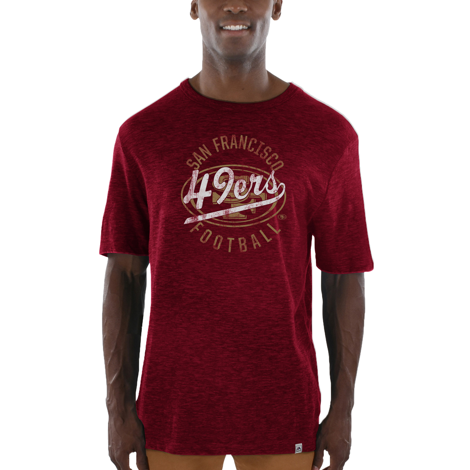 San Francisco 49ers Majestic Hyper Stack Slub T-Shirt - Heathered Scarlet