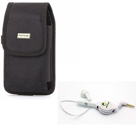 Rugged Canvas Carry Case w Retractable Headset MONO Handsfree Earphone Mic K1J for ASUS ZenFone Max Plus M1, ROG Phone, AR 5z 5Q 4 Pro 2 - Blackberry Motion - BLU Vivo XL4, Pure View, R1