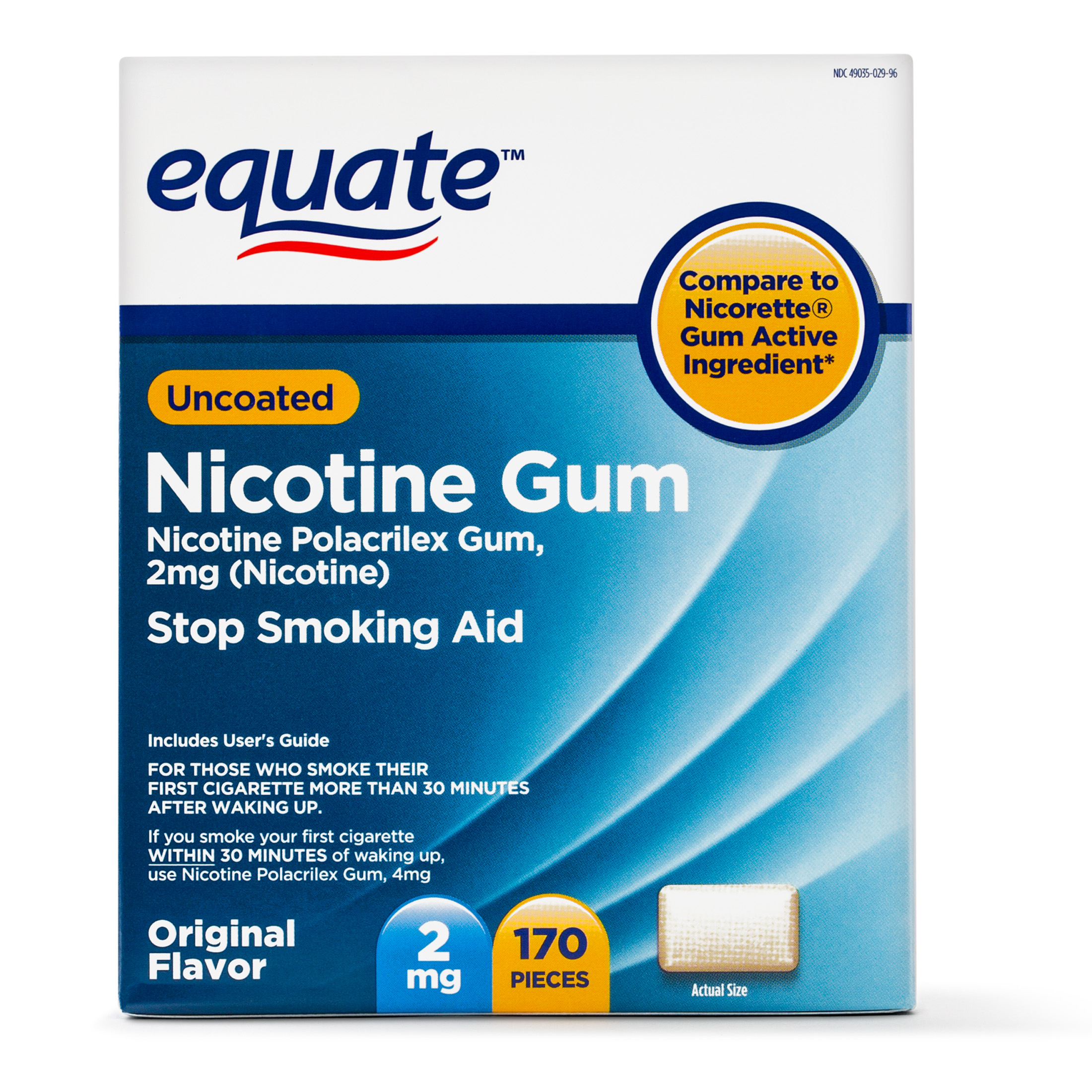 Equate Uncoated Nicotine Gum Stop Smoking Aid Original Flavor, 2 mg, 170 Ct