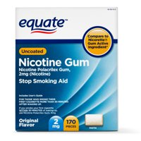 Equate Uncoated Nicotine Gum, Original Flavor, 2mg, 170 Pieces