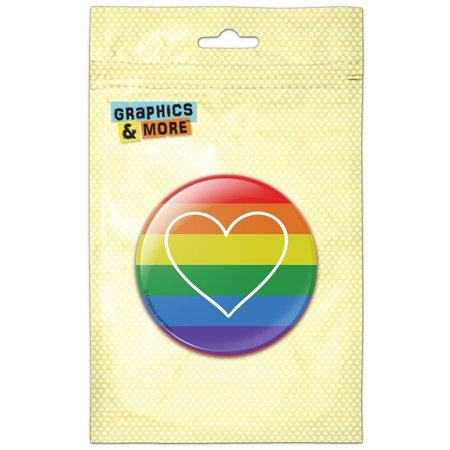 Pride Rainbow Button - LGBTQ Gay Lesbian Transgender Queer Bisexual Pride Heart on Rainbow Pinback Button Pin Badge