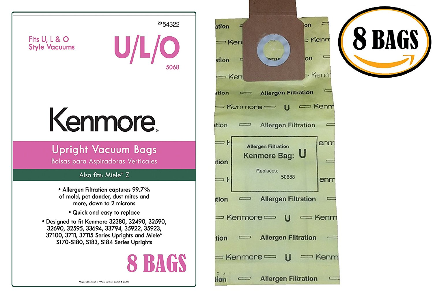 Kenmore 50105 8 Pack Upright Vacuum Bags For U//L//O Style Vacuums 2054322