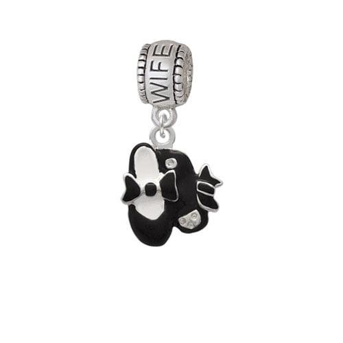 Black Enamel Tap Shoes - Wife Charm Bead