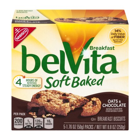 Belvita Breakfast Biscuits Soft Baked Oats   Chocolate  1 76 Oz  5 Count