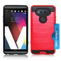 LG V20 / US996 Slim PC Metal Brushed Protective Credit Card Slot Red