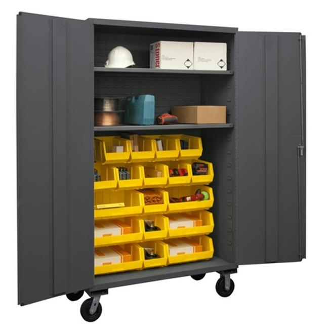 48 in. 16 Gauge Flush Door Style Lockable Mobile Storage Cabinet with 18 Yellow Hook on Bins & 2 Adjustable Shelves, Gray