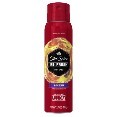 (2 pack) Old Spice Fresher Amber Scent Body Spray for Men, 3.75 oz