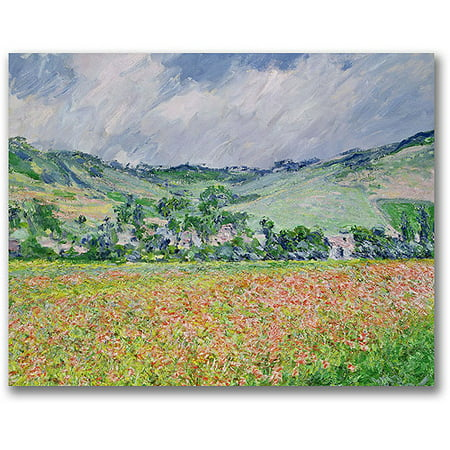 "Trademark Fine Art ""The Poppy Field Near Giverny"" Canvas Wall Art by Claude Monet"