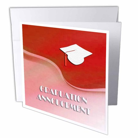 Graduation Cap Card Box (3dRose Graduation Announcement, White Cap on Red Wave , Greeting Cards, 6 x 6 inches, set of)