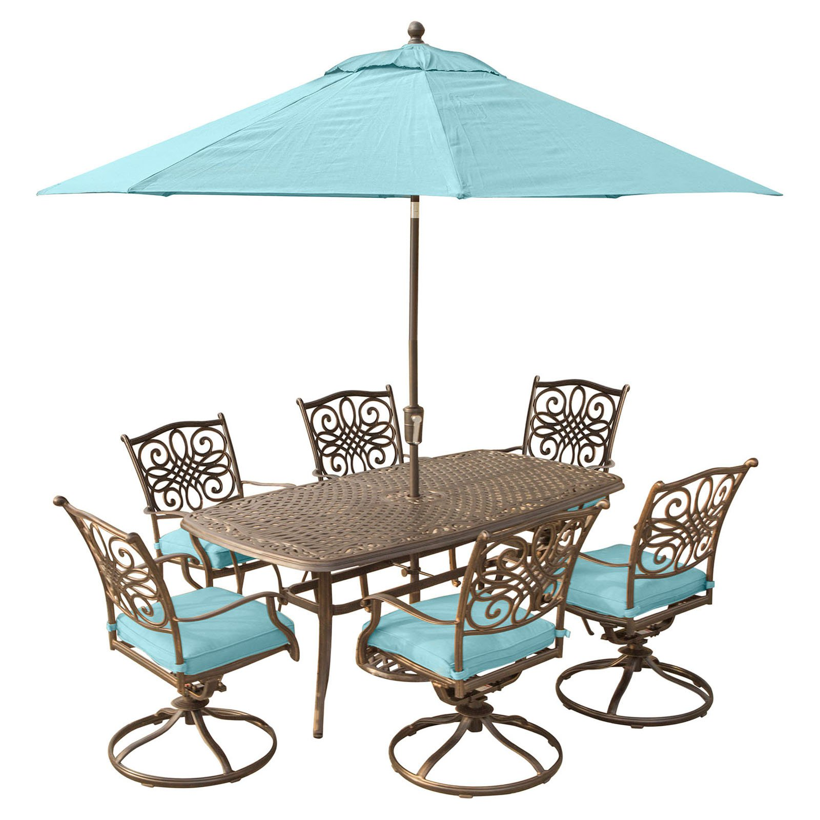 Hanover Outdoor Traditions 7-Piece Cast-Top Dining Set with 6 Swivel Rockers and Umbrella with Stand, Ocean Blue