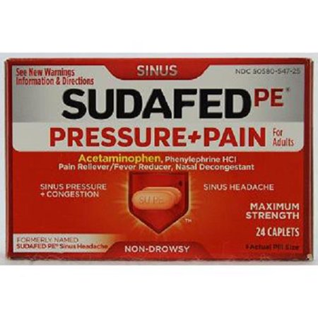 Product Of Sudafed Pe, Pressure+Pain, Count 1 - Medicine Cold/Sinus/Allergy / Grab Varieties &