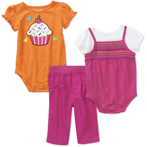 Garanimals Newborn Girls' 3-Piece Creeper and Pants Set