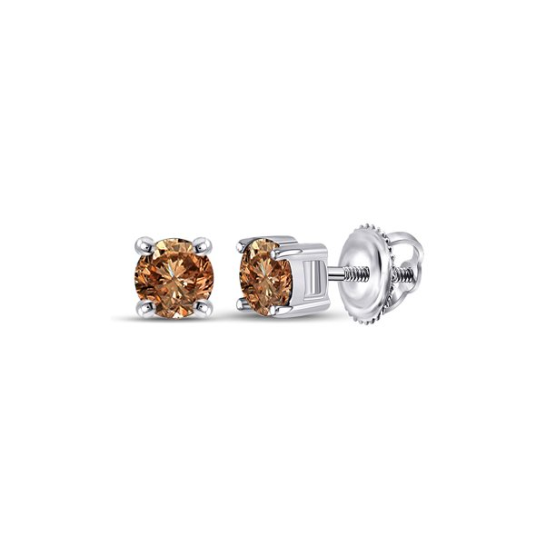 10kt White Gold Womens Round Brown Diamond Solitaire Earrings 1.00 Cttw Fine Jewelry