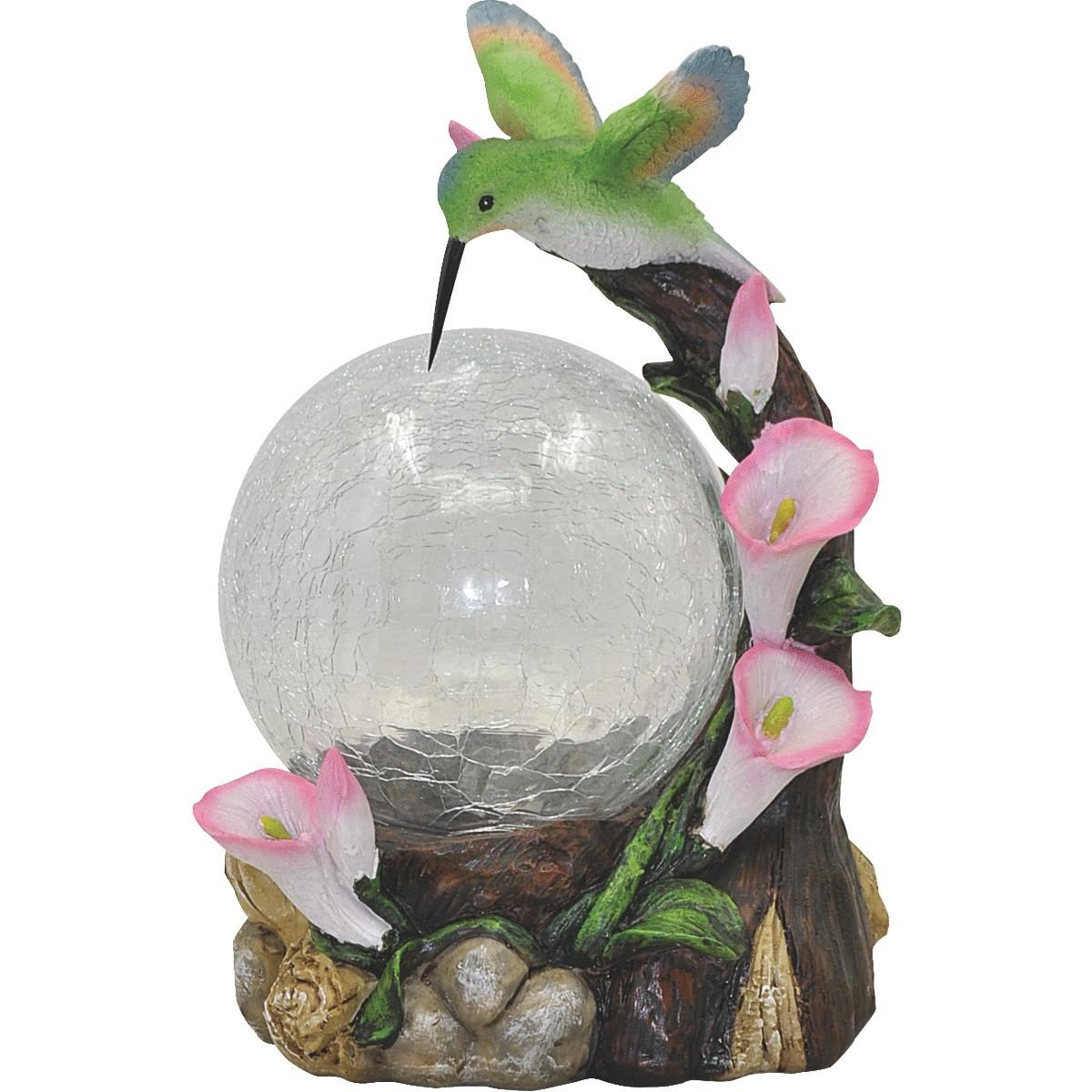 Moonrays 92365 Hummingbird Globe Garden Statue with Solar Powered Color-Changing LED Light, Multicolor by Woods Ind.