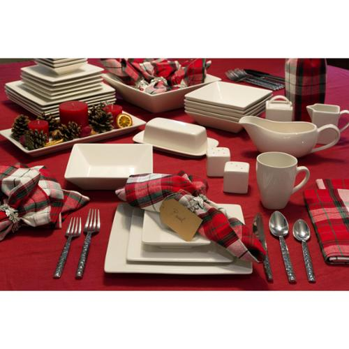 10 Strawberry Street Simply Square Porcelain Dining Room Set (40 Pieces) by Overstock