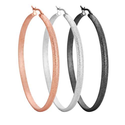Stainless Steel 50mm Textured Hoop Earrings Stainless