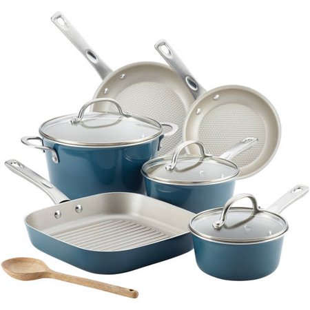Ayesha Curry Porcelain Enamel Nonstick 10 Piece Cookware Set