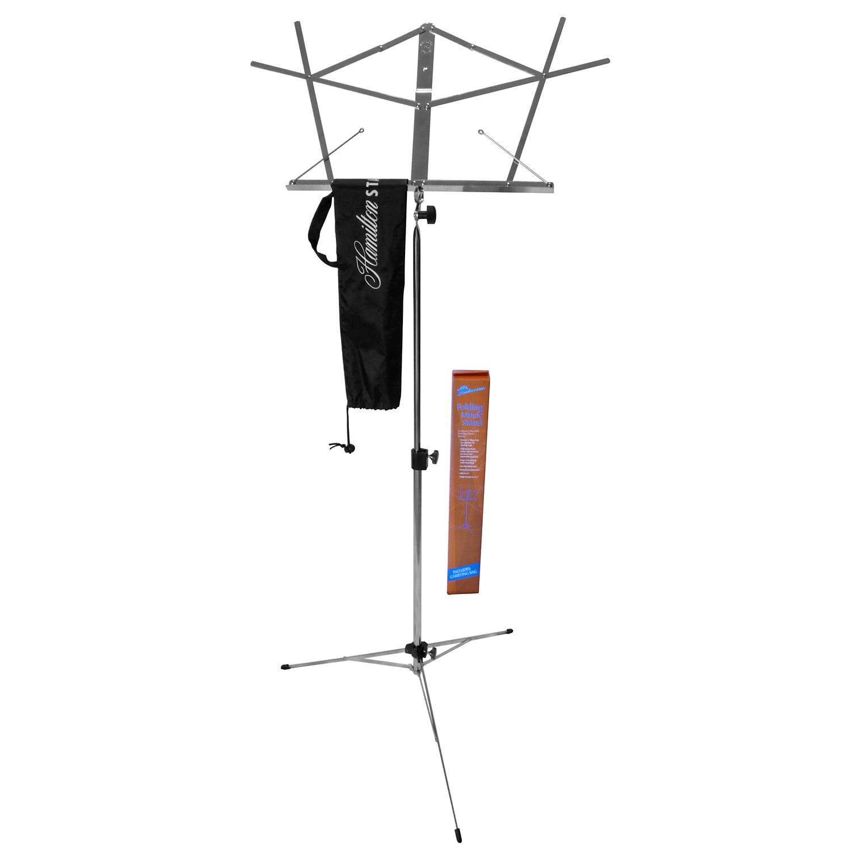 Hamilton Dlx Folding Music Stand w Bag Chrome by Hamilton Stands