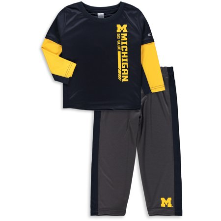 Michigan Wolverines Colosseum Toddler We Got Us Long Sleeve T-Shirt and Pants Set - Navy/Maize - 3T