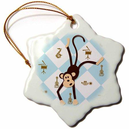 3dRose Dancing Monkey. Blue. Musical Instruments. Kids Décor. Cool print, Snowflake Ornament, Porcelain, 3-inch