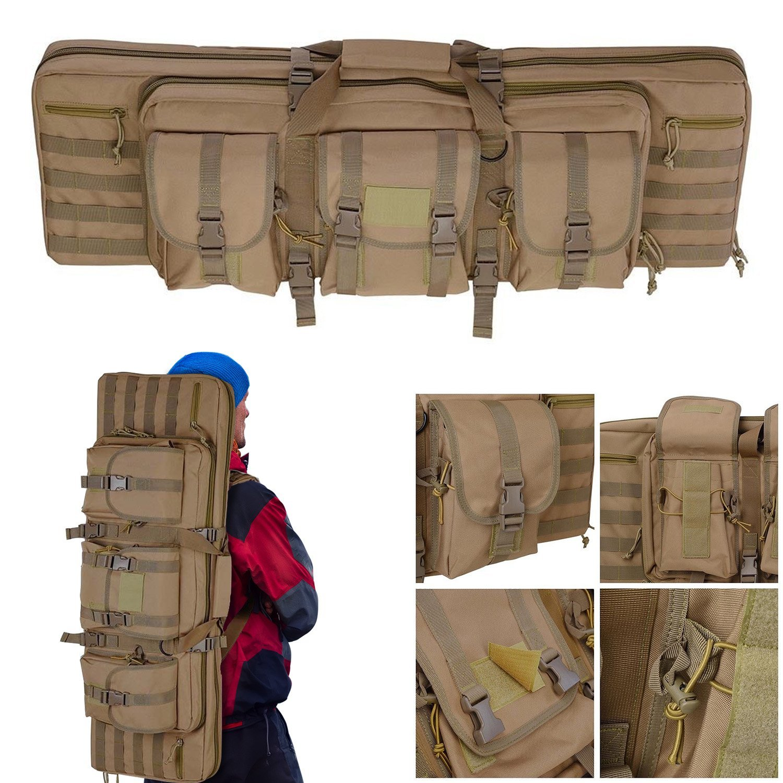 "Koval Inc. 36"" Tactical Dual Gun Bag Carbine Rifle Case Backpack (Khaki)"